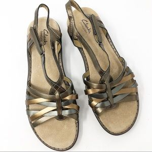 Clark's Bendables Metallic Leather Straps Sandals